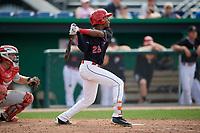 Batavia Muckdogs third baseman Ronal Reynoso (26) follows through on a swing during a game against the Auburn Doubledays on September 1, 2018 at Dwyer Stadium in Batavia, New York.  Auburn defeated Batavia 10-5.  (Mike Janes/Four Seam Images)