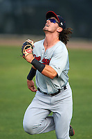 Brevard County Manatees right fielder Clint Coulter (40) tracks a fly ball during a game against the Lakeland Flying Tigers on April 20, 2016 at Henley Field in Lakeland, Florida.  Lakeland defeated Brevard County 5-2.  (Mike Janes/Four Seam Images)