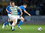 St Johnstone v Celtic...13.08.14  SPFL<br /> Stefan Johansen and Gary McDonald<br /> Picture by Graeme Hart.<br /> Copyright Perthshire Picture Agency<br /> Tel: 01738 623350  Mobile: 07990 594431