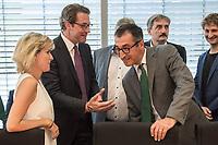 In einer nichtoeffentlichen Sondersitzung des Bundestagsausschuss fuer Verkehr und digitale Infrastruktur, am Mittwoch den 24. Juli 2019, berichtete Bundesverkehrsminister Andreas Scheuer (CSU) dem Ausschuss ueber Vertragsinhalte und moegliche Schadensersatzansprueche im Hinblick auf Kuendigungen von Vertraegen zur Infrastrukturabgabe (MAUT) in Folge des Urteils des Europaeischen Gerichtshofs (EuGH). Das Verkehrsministerium hatte, noch bevor die Einfuehrung der MAUT rechtsgueltig haette werden koenne, millionenschwere Vertraege mit Firmen abgeschlossen.<br /> Im Bild: 2.vl.: Verkehrsminister Scheuer; rechts: der Ausschussvorsitzende Cem Oezdemir, Buendnis 90/ Die Gruenen.<br /> 24.7.2019, Berlin<br /> Copyright: Christian-Ditsch.de<br /> [Inhaltsveraendernde Manipulation des Fotos nur nach ausdruecklicher Genehmigung des Fotografen. Vereinbarungen ueber Abtretung von Persoenlichkeitsrechten/Model Release der abgebildeten Person/Personen liegen nicht vor. NO MODEL RELEASE! Nur fuer Redaktionelle Zwecke. Don't publish without copyright Christian-Ditsch.de, Veroeffentlichung nur mit Fotografennennung, sowie gegen Honorar, MwSt. und Beleg. Konto: I N G - D i B a, IBAN DE58500105175400192269, BIC INGDDEFFXXX, Kontakt: post@christian-ditsch.de<br /> Bei der Bearbeitung der Dateiinformationen darf die Urheberkennzeichnung in den EXIF- und  IPTC-Daten nicht entfernt werden, diese sind in digitalen Medien nach §95c UrhG rechtlich geschuetzt. Der Urhebervermerk wird gemaess §13 UrhG verlangt.]