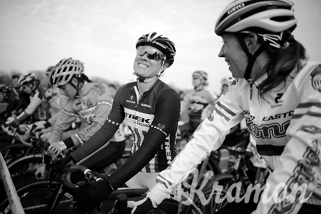 Katherine 'Katie' Compton (USA/Trek) sharing a joke at the start with Helen Wyman (GBR/Kona) before the start<br /> <br /> Koksijde CX World Cup 2014