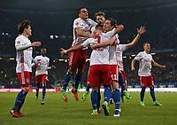 12.03.2017, Football 1. Bundesliga 2016/2017, 24. Match Day, Hamburger SV - Borussia Moenchengladbach, am Volksparkstadion Hamburg. Jubel  Goutoku Sakai (Hamburg) , Gideon Jung (Hamburg) , Filip Kostic (Hamburg) , Torschuetze Bobby Wood (Hamburg) , Aaron Hunt (Hamburg) , Michael Gregoritsch (Hamburg) , Matthias Ostrzolek (Hamburg) celebrates scoring to 2:1 .<br /> <br /> +++ NED + SUI out !!! +++