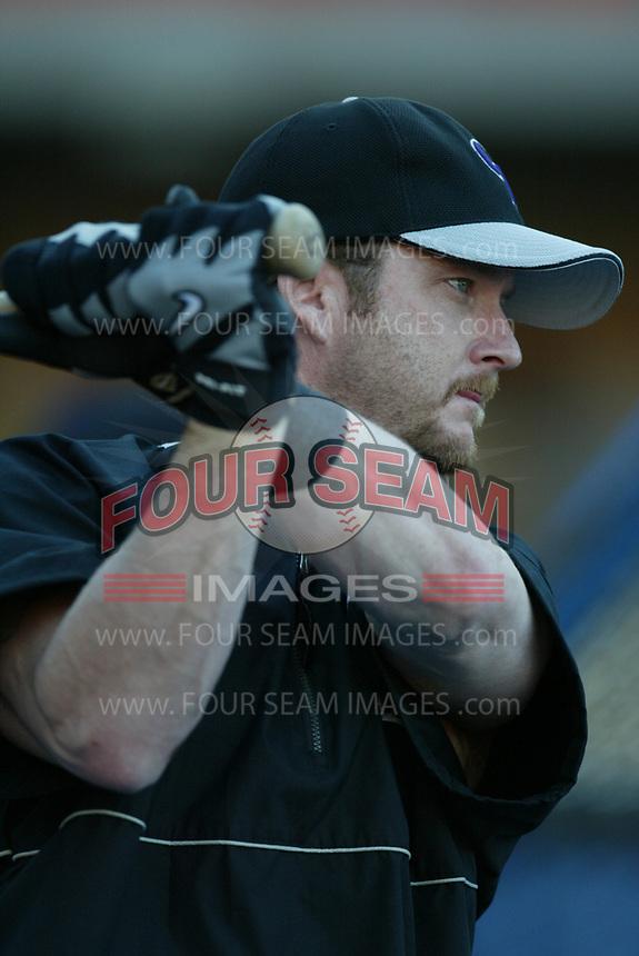Gregg Zaun of the Colorado Rockies during a 2003 season MLB game at Dodger Stadium in Los Angeles, California. (Larry Goren/Four Seam Images)