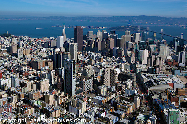 aerial photograph of the Hilton San Francisco Union Square during Superbowl 50, San Francisco, California with the Bank of America tower and the TransAmerica pyramid in the background.