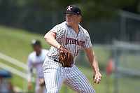 Kannapolis Intimidators starting pitcher Drew Harrington (13) in action against the Hagerstown Suns at Kannapolis Intimidators Stadium on July 17, 2018 in Kannapolis, North Carolina. The Intimidators defeated the Suns 10-9. (Brian Westerholt/Four Seam Images)
