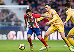 Angel Correa (L) of Atletico de Madrid fights for the ball with Alex Granell Nogue of Girona FC during the La Liga 2017-18 match between Atletico de Madrid and Girona FC at Wanda Metropolitano on 20 January 2018 in Madrid, Spain. Photo by Diego Gonzalez / Power Sport Images