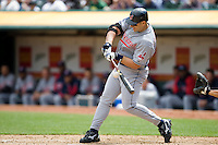 6 April 2008: Indians' #48 Travis Hafner makes contact during the Cleveland Indians 2-1 victory over the Oakland Athletics at the McAfee Coliseum in Oakland, CA.