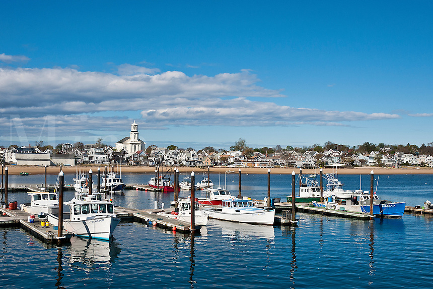 Small boats moored in Provincetown Marina, McMillan Warf, Provincetown, Cape Cod, MA