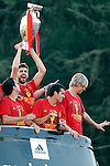 02.07.2012.(L to R) Pique, Pedroand Torres during Tour of Madrid of the Spanish football team to celebrate their victory in Euro 2012 july 2012.(ALTERPHOTOS/ARNEDO)