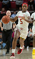 COLLEGE PARK, MD - FEBRUARY 9: Kaila Charles #5 of Maryland charges up court during a game between Rutgers and Maryland at Xfinity Center on February 9, 2020 in College Park, Maryland.