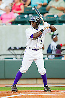 Jared Mitchell #24 of the Winston-Salem Dash at bat against the Kinston Indians at BB&T Ballpark on June 4, 2011 in Winston-Salem, North Carolina.   Photo by Brian Westerholt / Four Seam Images
