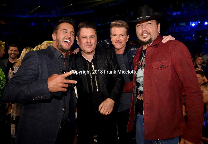 NASHVILLE, TN - JUNE 6: (L-R) Luke Bryan, Jay DeMarcus, Joe Don Rooney and Jason Aldean attend the 2018 CMT Music Awards at the Bridgestone Arena on June 6, 2018 in Nashville, Tennessee. (Photo by Frank Micelotta/PictureGroup)