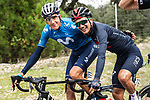 Marc Soler (ESP) Movistar Team and Richard Carapaz (ECU) Ineos Grenadiers catch up during Stage 18 of the Vuelta Espana 2020, running 139.6km from Hipódromo de La Zarzuela to Madrid, Spain. 8th November 2020.  <br /> Picture: Unipublic/Charly Lopez | Cyclefile<br /> <br /> All photos usage must carry mandatory copyright credit (© Cyclefile | Unipublic/Charly Lopez)