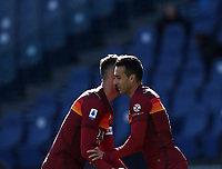 Football, Serie A: AS Roma -  Udinese, Olympic stadium, Rome, February 14, 2021. <br /> Roma's Pedro Rodriguez (r) celebrates after scoring with his teammate Bryan Cristante (r) during the Italian Serie A football match between Roma and Udinese at Rome's Olympic stadium, on February 14, 2021.  <br /> UPDATE IMAGES PRESS/Isabella Bonotto