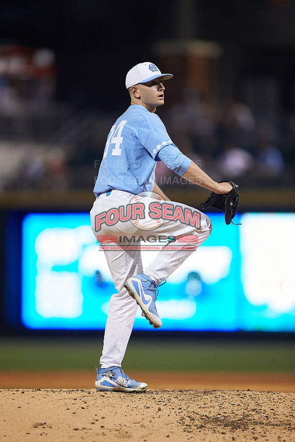 North Carolina Tar Heels relief pitcher Caden O'Brien (34) in action against the South Carolina Gamecocks at BB&T BallPark on April 3, 2018 in Charlotte, North Carolina. The Tar Heels defeated the Gamecocks 11-3. (Brian Westerholt/Four Seam Images)