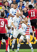CLEVELAND, OH - JUNE 22: Weston Mckennie #8 and Michael Bradley #4 go up for a header during a game between the United States and Trinidad & Tobago at FirstEnergy Stadium on June 22, 2019 in Cleveland, Ohio.