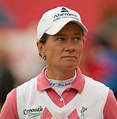 Scotland's Catriona Matthew glances towards the scoreboard as she completes her first round play of the  Ricoh Woman's British Open to be played over the Championship Links from 28th to 31st July 2011; Picture Stuart Adams, SAFOTO. www.safoto.co.uk; 28th July 2011