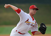 RHP Drew Benes (15) of the Johnson City Cardinals in a game against the Kingsport Mets on July 17, 2010, at Howard Johnson Field in Johnson City, Tenn. Photo by: Tom Priddy/Four Seam Images