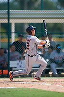 Detroit Tigers Sam McMillan (32) follows through on a swing during a Florida Instructional League game against the Pittsburgh Pirates on October 2, 2018 at the Pirate City in Bradenton, Florida.  (Mike Janes/Four Seam Images)