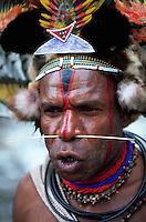 Portrait of a Huli Wigman-warrior; he has an ornate headdress, face paint and a pierced nose. Papua New Guinea.