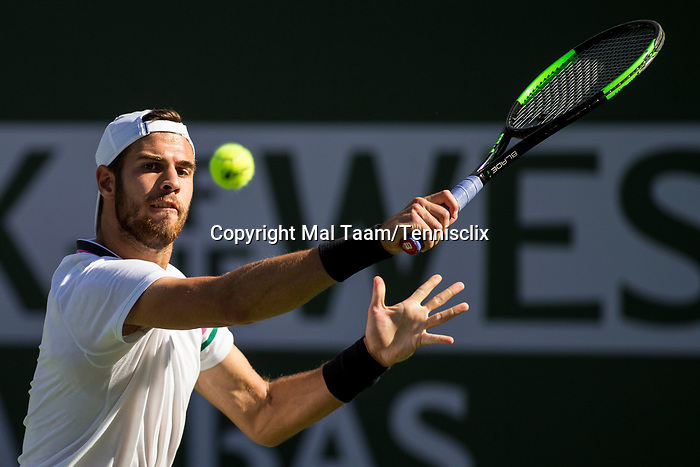 March 11, 2019: Karen Khachanov (RUS) in action where he was defeated by Rafael Nadal (ESP) 7-6, 7-6 at the BNP Paribas Open at the Indian Wells Tennis Garden in Indian Wells, California. ©Mal Taam/TennisClix/CSM