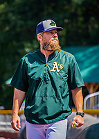 3 September 2018: Vermont Lake Monsters Manager Aaron Nieckula walks to the dugout prior to a game against the Tri-City ValleyCats at Centennial Field in Burlington, Vermont. The Lake Monsters defeated the ValleyCats 9-6 in the last game of the 2018 NY Penn League regular season. Mandatory Credit: Ed Wolfstein Photo *** RAW (NEF) Image File Available ***