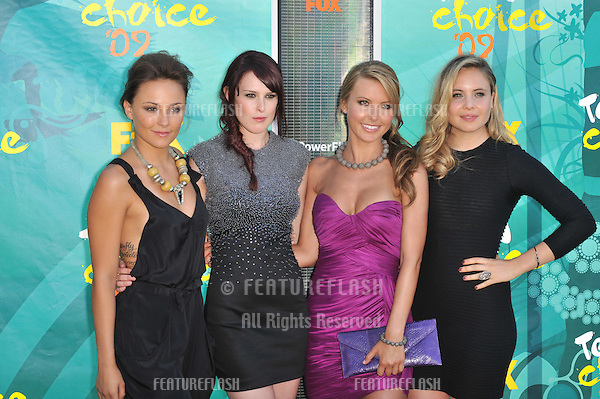 Briana Evigan (left), Rumer Willis, Audrina Patridge & Leah Pipes at the 2009 Teen Choice Awards at the Gibson Amphitheatre Universal City..August 9, 2009  Los Angeles, CA.Picture: Paul Smith / Featureflash