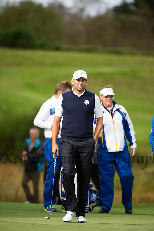 Spaniard Sergio Garcia on the 6th hole during a practice session at Gleneagles Golf Course, Perthshire. Photo credit should read: Kenny Smith/Press Association Images.