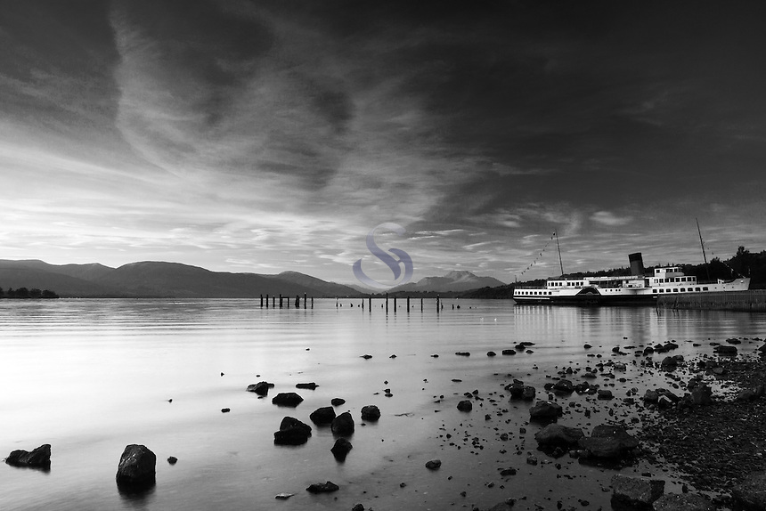 Ben Lomond, The Maid of the Loch and Loch Lomond from Loch Lomond Shores, Balloch, Loch Lomond and the Trossachs National Park, West Dunbartonshire