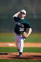 Dartmouth Big Green starting pitcher Jackson Bubala (32) delivers a pitch during a game against the Villanova Wildcats on February 27, 2016 at South Charlotte Regional Park in Punta Gorda, Florida.  Villanova defeated Dartmouth 14-1.  (Mike Janes/Four Seam Images)