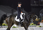 Imke Schellekens-Bartels and Hunter Douglas Sunrise of the Netherlands perform their Freestyle Dressage in the Grand Prix Freestyle Dressage competition at the Alltech World Equestrian Games in Lexington, Kentucky.