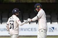 Tom Westley (R) congratulates Adam Wheater on reaching his fifty for Essex during Essex CCC vs Worcestershire CCC, LV Insurance County Championship Group 1 Cricket at The Cloudfm County Ground on 9th April 2021