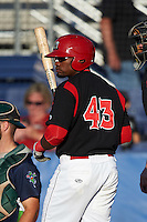 Batavia Muckdogs designated hitter Yuniel Ramirez (43) at bat during a game against the Vermont Lake Monsters August 9, 2015 at Dwyer Stadium in Batavia, New York.  Vermont defeated Batavia 11-5.  (Mike Janes/Four Seam Images)