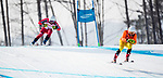 Mac Marcoux, PyeongChang 2018 - Para Alpine Skiing // Ski para-alpin.<br /> Mac Marcoux and guide Jack Leitch ski to the gold in the men's visually impaired downhill // Mac Marcoux et le guide Jack Leitch skient vers l'or dans la descente masculine pour les athlètes ayant une déficience visuelle. 10/03/2018.