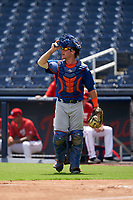 GCL Mets catcher Matt O'Neill (72) during a Gulf Coast League game against the GCL Nationals on August 12, 2019 at FITTEAM Ballpark of the Palm Beaches in Palm Beach, Florida.  GCL Nationals defeated the GCL Mets 7-3.  (Mike Janes/Four Seam Images)