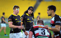 James Blackwell and Naitoa Ah Kuoi walk to a lineout during the Mitre 10 Cup rugby match between Wellington Lions and Counties Manukau Steelers at Westpac Stadium in Wellington, New Zealand on Wednesday, 29 August 2019. Photo: Dave Lintott / lintottphoto.co.nz