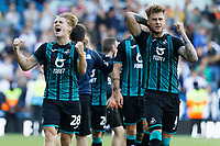 LEEDS, ENGLAND - AUGUST 31: (L-R) George Byers and Joe Rodon of Swansea City celebrate their team's win during the Sky Bet Championship match between Leeds United and Swansea City at Elland Road on August 31, 2019 in Leeds, England. (Photo by Athena Pictures/Getty Images)