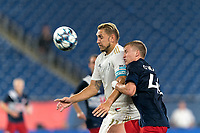 FOXBOROUGH, MA - AUGUST 5: Robert Kristo #11 of North Carolina FC collects a pass as Sean O'Hearn #40 of New England Revolution II pressures during a game between North Carolina FC and New England Revolution II at Gillette Stadium on August 5, 2021 in Foxborough, Massachusetts.
