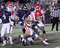 Fort Smith Northside Grizzlies Junior Ty Massey (33) fights for yardage against the Har-Ber Wildcats in the first round play-off game Friday, November 13, 2020, at Wildcat Stadium, Springdale, Arkansas (Special to NWA Democrat-Gazette/Brent Soule)