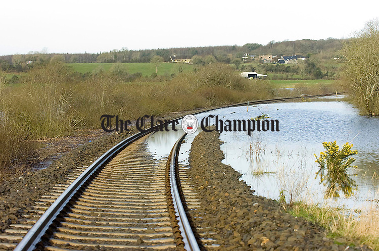 The section of flooded tracks between Ennis and Limerick at Ballycar.Pic Arthur Ellis.