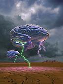 Brain w/lightning  floating over landscape