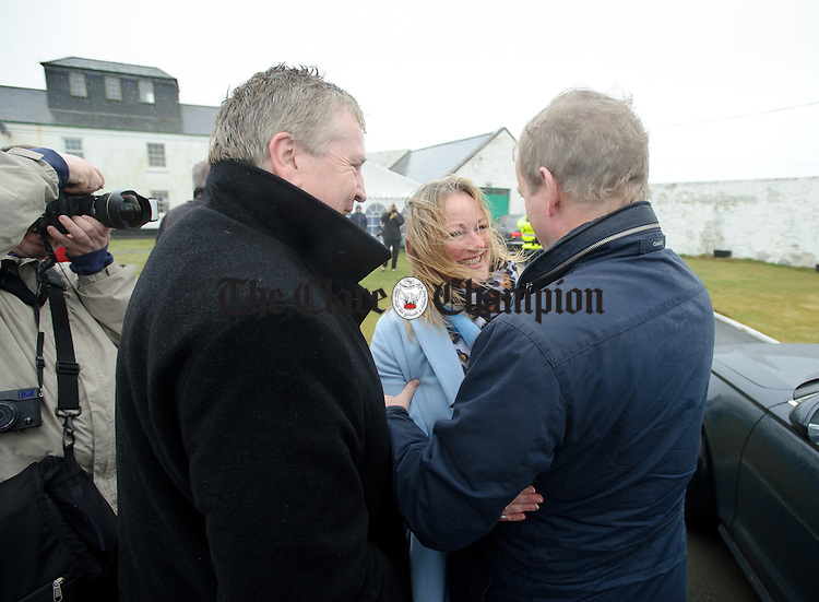 Councillor Mary Howard, Fine Gael candidate with Pat Breen, TD greeting Enda Kenny, Taoiseach during his visit to Loop Head to launch the Fine Gael tourism initiative. Photograph by John Kelly.