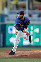 Frisco RoughRiders pitcher Edgar Arredondo (17) during a Texas League game against the Springfield Cardinals on May 4, 2019 at Dr Pepper Ballpark in Frisco, Texas.  (Mike Augustin/Four Seam Images)