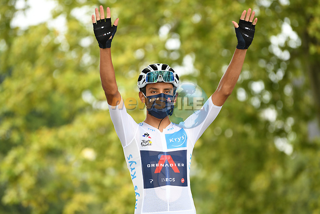 White Jersey Egan Bernal (COL) Team Ineos Grenadiers at sign on before the start of Stage 9 of Tour de France 2020, running 153km from Pau to Laruns, France. 6th September 2020. <br /> Picture: ASO/Alex Broadway | Cyclefile<br /> All photos usage must carry mandatory copyright credit (© Cyclefile | ASO/Alex Broadway)