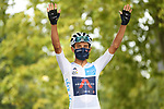White Jersey Egan Bernal (COL) Team Ineos Grenadiers at sign on before the start of Stage 9 of Tour de France 2020, running 153km from Pau to Laruns, France. 6th September 2020. <br /> Picture: ASO/Alex Broadway   Cyclefile<br /> All photos usage must carry mandatory copyright credit (© Cyclefile   ASO/Alex Broadway)