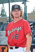 Billings Mustangs pitcher Jake Stevenson (56) poses for a photo before a Pioneer League game against the Grand Junction Rockies at Dehler Park on August 15, 2019 in Billings, Montana. Billings defeated Grand Junction 11-2. (Zachary Lucy/Four Seam Images)