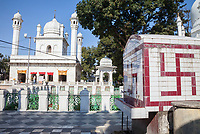 India, Dehradun.  A Sikh Temple built in 1707--the Durbar Shri Guru Ram Rai Ji Maharaj, with Traditional Hindu Swastika.