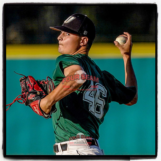 Brendan Disonell (46) of the University of South Carolina Upstate Spartans Green team delivers the final pitch in a 3-2 win in the Green and Black Fall World Series Game 3 on Sunday, November 1, 2020, at Cleveland S. Harley Park in Spartanburg, South Carolina. (Tom Priddy/Four Seam Images)