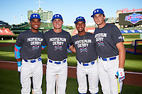 (L-R) Rece Hinds (9) of Niceville High School in Niceville, Florida - Jordan Groshans (15) of Magnolia High School in Magnolia, Texas - Nander De Sedas (25) of Montverde High School in Montverde, Florida - Triston Casas (26) of American Heritage High School in Pembroke Pines, Florida before the Home Run Derby during the Under Armour All-American Game presented by Baseball Factory on July 29, 2017 at Wrigley Field in Chicago, Illinois.  (Mike Janes/Four Seam Images)