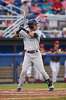 Staten Island Yankees shortstop Angel Aguilar (12) at bat during a game against the Batavia Muckdogs on August 27, 2016 at Dwyer Stadium in Batavia, New York.  Staten Island defeated Batavia 13-10 in eleven innings.  (Mike Janes/Four Seam Images)